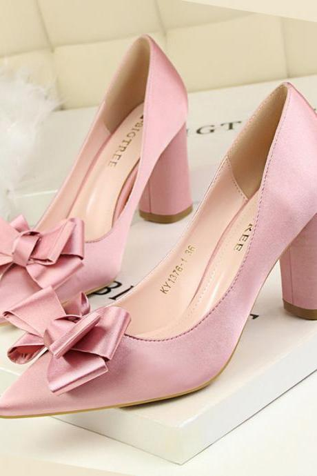 Pointed Toe Thick Round High Heel Satin Bridal Pumps with Ribbon , Wedding Shoes
