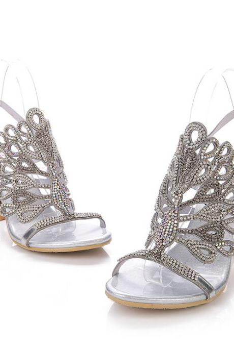 Silver Crystal Wedding High Heels Sandals - High Heel Party Shoes