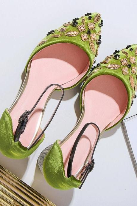 vintage ladies high heel sandals women wedding shoes 2018 green/black high heel bridal shoes for wedding evening party prom shoes