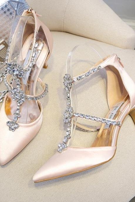 Crystal Embellished T-Strap Pointed Toe High Heel Pumps with Back Zipper , Wedding Shoes