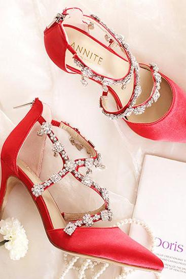 Crystal Beaded Bridal Wedding Shoes Ivory/Black/Red Shoes for Wedding Bridesmaids Prom Party Evening Shoes Pumps Heels