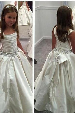 Gorgeous Ivory Little Flower Gril's dresses with Lace-up Back PNINA TORNAI Beaded Birthday girls pageant gowns Flower Girl dresses