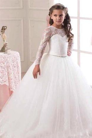New Flower Girls Dresses Princess Sleeveless Backless Lace Communion Party Kids Girl's Pageant Dresses flower girls