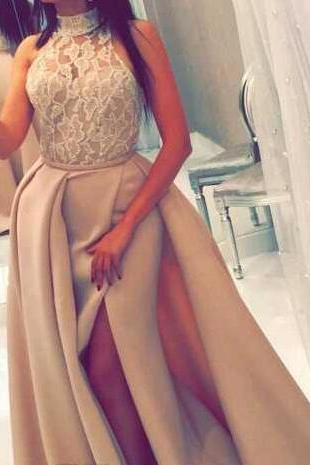 2018 Prom Dresses High Neck Beaded Lace Light Champagne Gowns with Overskirt and Split Sexy Pageant Dresses