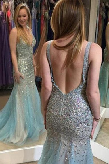 Fashion Sage Mermaid Prom Dresses Plunging V Neck Beaded Bodice Open Hollow V Back Sweep Train Tulle Hot Sales Evening Gowns
