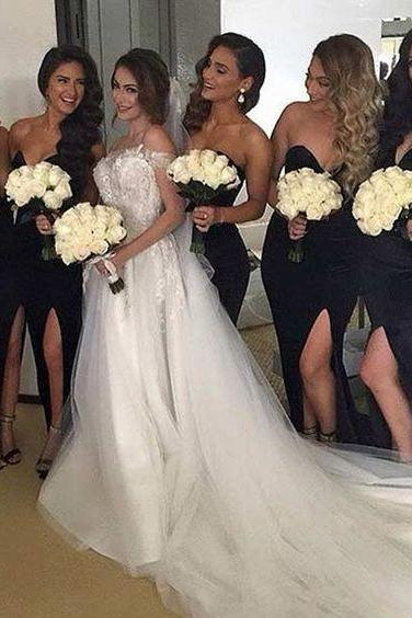 Sexy Black Bridesmaid Dress Sweetheart High Split Satin Long Bridesmaid Dresses
