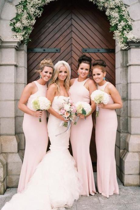 Sexy Light Pink Bridesmaid Dress Satin Long Bridesmaid Dresses