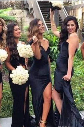 Satin Black Bridesmaid Dress with Sweetheart Neckline and High Split
