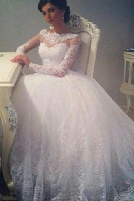 White Lace Wedding Gowns Custom Floor Length Bride Dresses Robe De Mariage Romantic Ball Gown Wedding Dresses