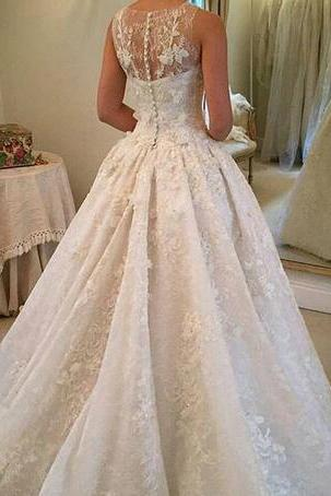 2018 Plus Sizes Wedding Dresses Sheer Jewel Sleeveless Lace Appliques Sequins Illusion Buttons Back Chapel Train Vestidos Bridal Gowns