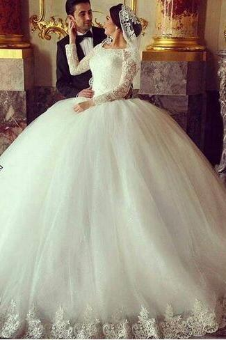 2018 Ball Gown Wedding Dresses Jewel Long Sleeves Lace Up Bridal Gowns