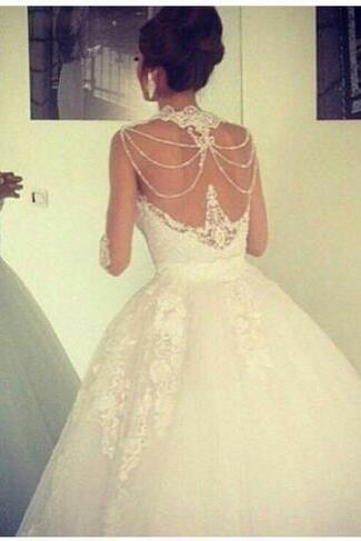 Beaded Ball Gowns Wedding Dresses High Lace Trimming Neck Sheer/Illusion Bodices Floor Length Middle East Style Bridal Gowns