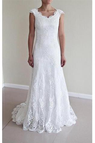 Vintage Full Lace Wedding Dresses A Line 2018 V Neck Cap Sleeves Wedding Gowns Covered Buttons Sweep Train Custom Bridal Gowns Cheap