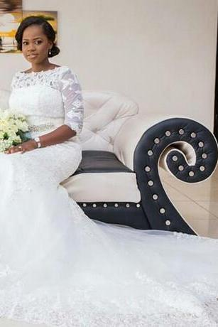 Plus Size Wedding Dress 2018 Vestido De Noiva Sereia African Wedding Dresses White Tulle Appliques Mermaid Bridal Dresses for Weddings