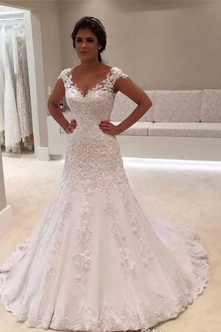 Vintage Mermaid Wedding Dresses 2018 V Neck Cap Sleeves Wedding Gowns White Lace Appliques Beaded Elegant Bridal Gowns