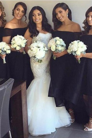 Custom Made Black Off Shoulder Organza High Low Bridesmaid Dress