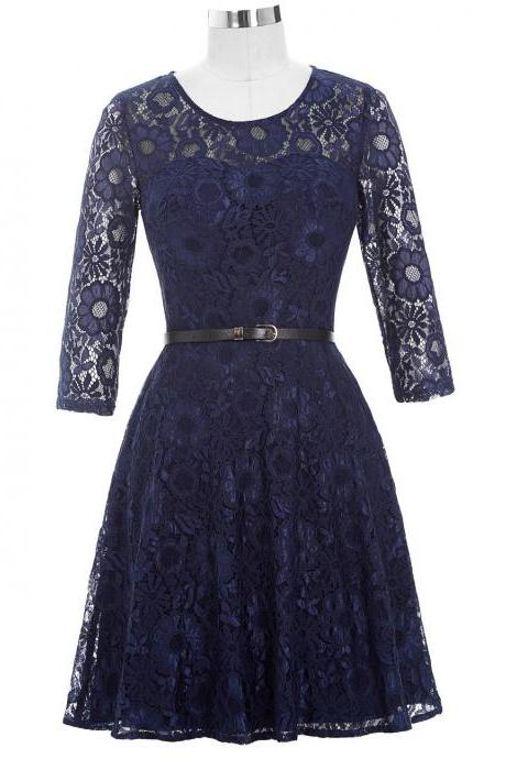 Mother of the Bride Dresses with Belt 2018 Half Sleeve Lace Vintage Dresses Mother Bride for Wedding Navy Blue Short Gown