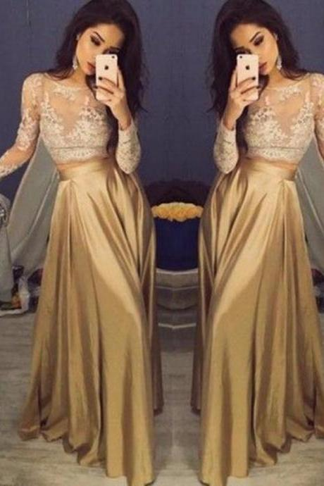 Beautiful Lace Long Sleeve Gold Two Piece Prom Dresses 2018 Satin Cheap Prom Gowns Sheer Golden Party Dress