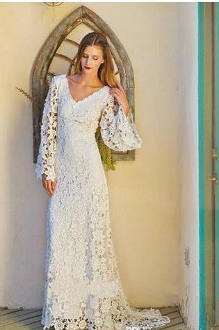 Vintage Lace Long Sleeve Wedding Gowns Bridal Dress 2018 V Neck Sweep Train Ivory Bohemian Beach Wedding Dresses