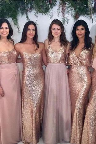Bridesmaid Dresses Mix-and-Match Blush Pink Chiffon with Rose Gold Sequined Fabric Floor Length Mixture Styles Country Party Gowns