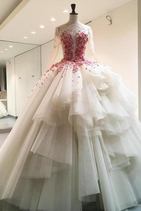 Elegant Illusion Bodice Ball Gowns Wedding Dresses Full Long Sleeves Floor Length Sweep Train With Rose Petal Princess Bridal Gowns