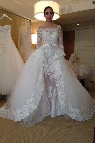 Lace Ball Gown Wedding Dresses with Off Shoulder Illusion 3/4 Sleeves Beadeds Sequins Appliques Bow Belt Overskirt Ruffles Bridal Gowns