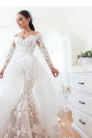 Mermaid Lace Wedding Dresses 2018 Off Shoulder Sweetheart Neckline with Illusion Long Sleeves and Asymmetrical Overskirt