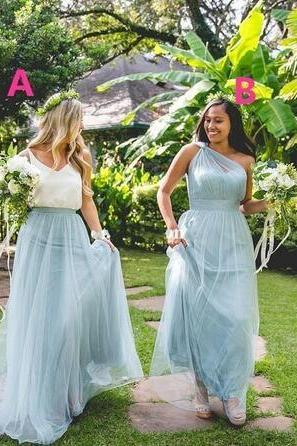 Maxi Bridesmaid Dresses Dusty Blue One Shoulder Floor Length Sweetheart Tulle Plus Size Wedding Guest Gowns Maid of Honor Dress