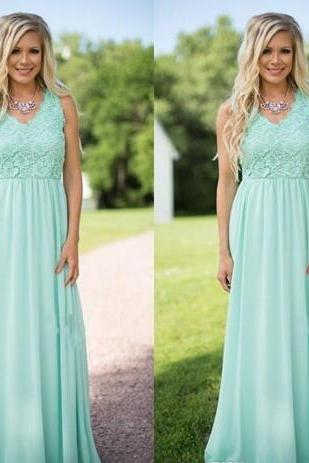 Mint Country Style A Line Chiffon Bridesmaid Dresses Lace Top V Neck Zipper Back Wedding Guest Wear Party Dresses Maid of Honor Gowns