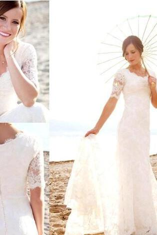 Simple Elegant Full Lace Sheath Wedding Dresses 2018 Short Sleeve Lace Appliqued Bridal Gowns Cheap Long Beach Vintage Wedding Gowns