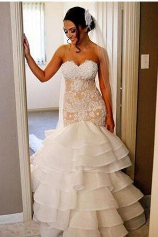 2018 Generous Tiered Skirts Mermaid Wedding Dresses Sweetheart Off Shoulder Sleeveless Appliques Lace Vestido De Novia Bridal Gowns