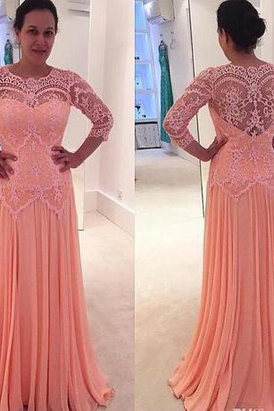 mother of the bride 2018 sexy cheap plus size formal evening gowns pink lace long sleeve prom dresses