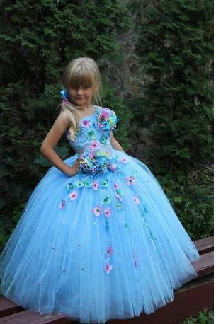 Light Blue Tulle Flower Girls Dresses For Wedding With Handmade Flowers One Shoulder Tiered Ruffle Pageant Dresses Floor-Length Party Gowns
