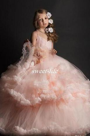 Lovely Blush Pink Ball Gown Flower Girl Dresses for Vintage Wedding Spaghetti Ruffles Tutu 2018 Cheap Girls Pageant Dresses Kids Party Gowns