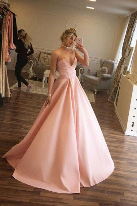 Unique Prom Dresses,Ball Gown Prom Dresses,Strapless Prom Dress,Pink Prom Gown,Long Evening Dress,Satin Evening Dress