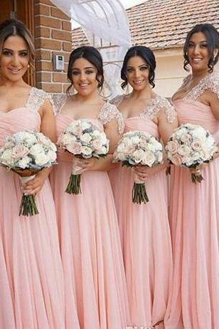 Elegant Pink Bridesmaid Dresses Long Chiffon Gown Tan Country Style Beach Maid Of Honor Party Gowns Wedding Formal Wear