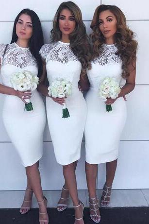 Sexy Sheath Short Bridesmaid Dresses Lace Jewel Cap Sleeves Knee Length Maid of Honor Gown Cheap Party Prom Evening Gowns Plus Size