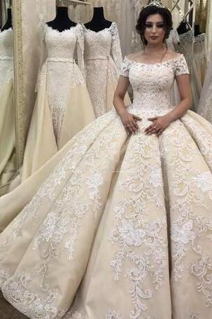 Ball Gown Weddings Dresses With Short Sleeves Lace Appliques Off The Shoulder Wedding Gowns Handmade Vintage Bridal Dress Vestidos