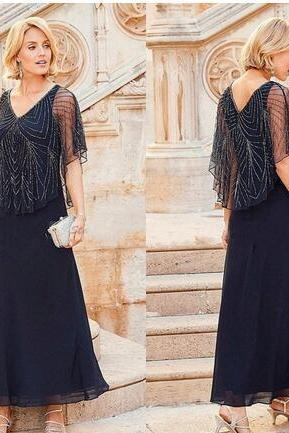 2018 Mother Off Bride Dresses Chiffon Navy Blue V Neck Beading Short Sleeves Ankle Length With Wrap Cape Plus Size wedding guest dress