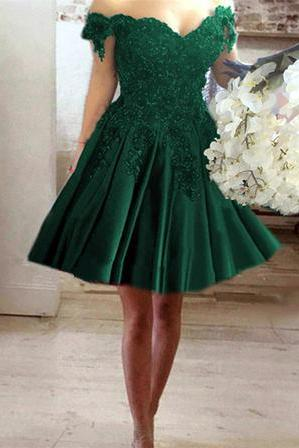 A-line V-neck Off Shoulder Lace Flower Beaded Prom Short Dresses For Homecoming