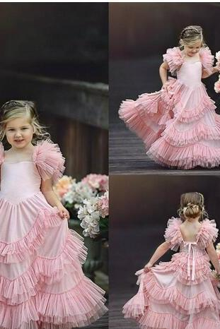 Lovely Blush Pink Flower Girl Dresses Tiered Ruffle Tulle Pageant Gowns First Communion Floor Length Custom Made Kids Prom Dresses