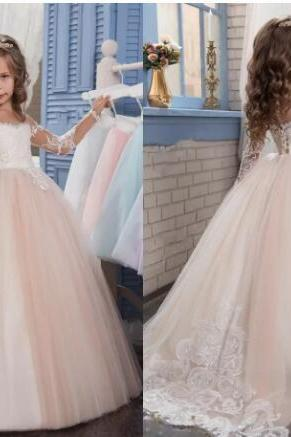 Blush Pink Flower Girls Dresses For Weddings Long Sleeves Lace Appliques Ball Gown Birthday Girl Communion Pageant Gown
