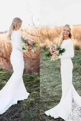 Beach Bohemian Mermaid Wedding Dresses Lace Appliqued Long Sleeves Sweep Train Length Wedding Bridal Gowns Cheap Boho