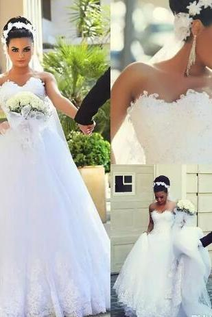 New Fashion Tulle Lace Wedding Dresses Beaded Crystals Sweetheart Appliqued Garden Cheap Wedding Bridal Gowns