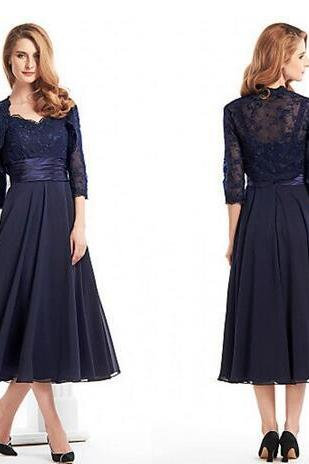 Custom Made Tea Length Mother Of The Bride Groom Dress With Jacket Long Sleeves Navy Blue Lace Plus Size Women Evening Formal Gown