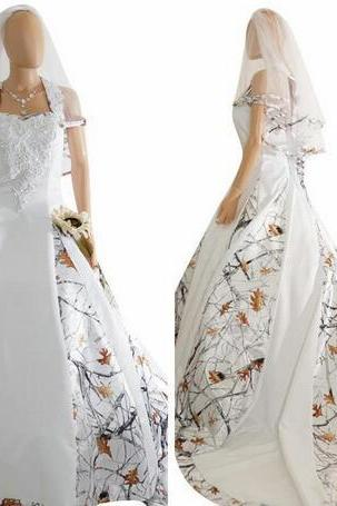 2018 New Fashion White Camo Satin Wedding Dress Custom Lace Appliques Bridal Gowns Lace Up Back With Veil Custom Long Camouflage New