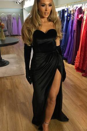 Long Black Velvet Sweetheart Mermaid Prom Dresses Leg Slit Evening Gowns