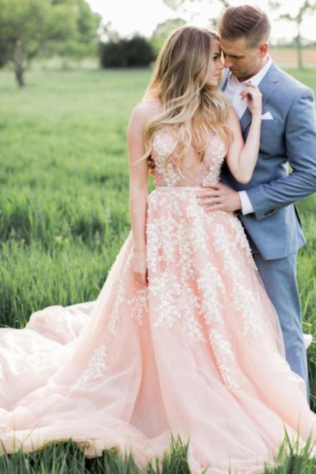 Blush Pink Long Tulle Appliques Wedding Dress With Cathedral Train,Prom Dresses