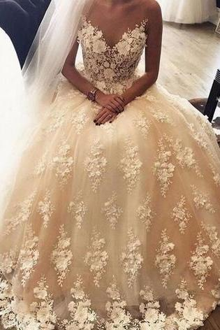 Strapless Full Lace Wedding Dresses 2018 Sheer V Neck Bridal Gowns Sweep Train Full Appliques A Line Wedding Gowns