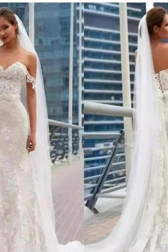 2018 Full Lace Gorgeous Wedding Dresses Off Shoulder Mermaid Appliques Sash Corset Back Sweep Train Country Garden Bridal Gowns Customized